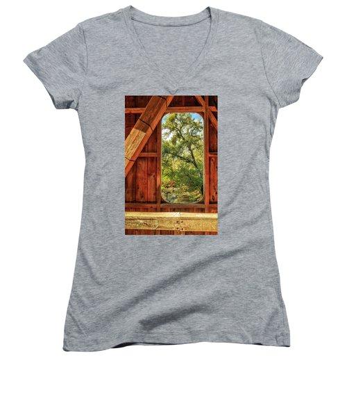 Covered Bridge Window Women's V-Neck T-Shirt (Junior Cut) by James Eddy