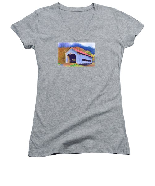 Women's V-Neck T-Shirt (Junior Cut) featuring the digital art Covered Bridge With Red Roof by Kirt Tisdale