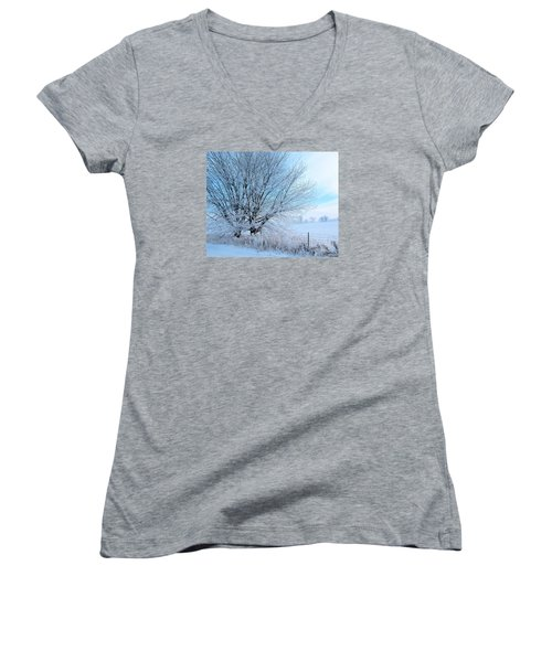 Covered In Ice Women's V-Neck T-Shirt (Junior Cut) by Heather King
