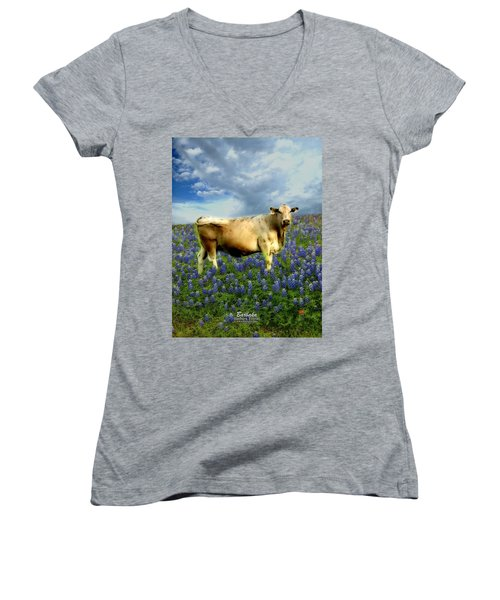 Women's V-Neck T-Shirt (Junior Cut) featuring the photograph Cow And Bluebonnets by Barbara Tristan