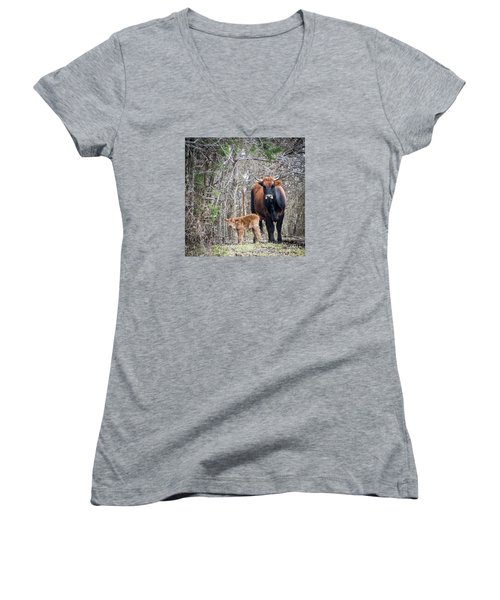 Cow And Calf Women's V-Neck