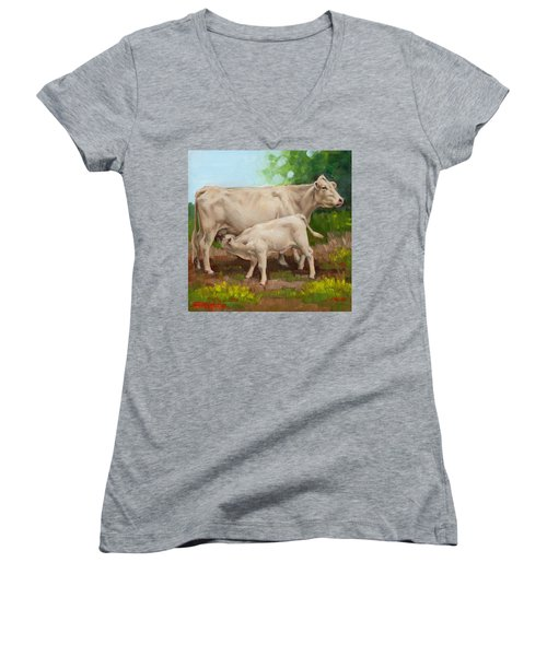 Cow  And Calf In Miniature  Women's V-Neck (Athletic Fit)