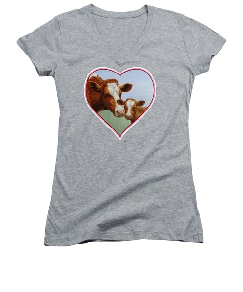 Cow And Calf Pink Heart Women's V-Neck T-Shirt
