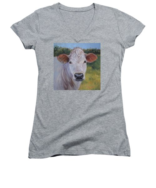 Cow Painting Ms Ivory Women's V-Neck T-Shirt (Junior Cut) by Cheri Wollenberg