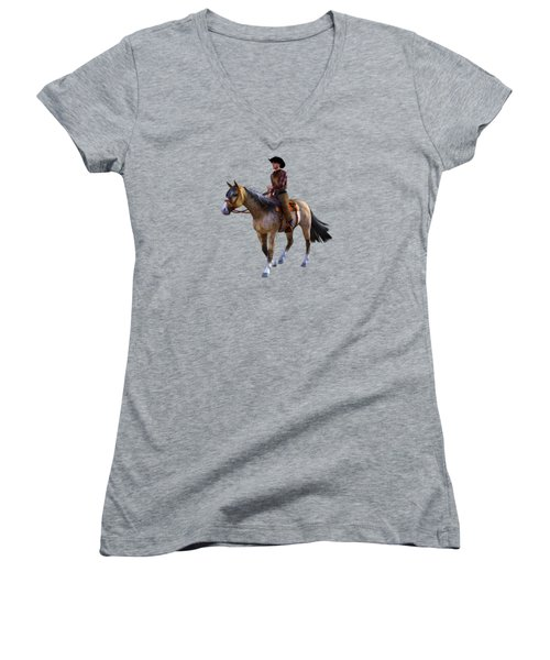 Women's V-Neck T-Shirt (Junior Cut) featuring the digital art Cowboy Blue by Methune Hively