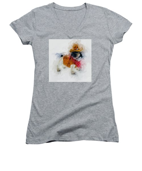 Cowboy Bulldog Women's V-Neck