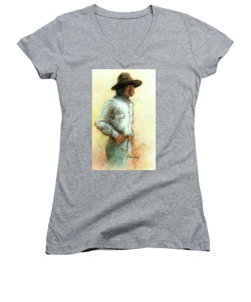 Cowboy In Thought Women's V-Neck (Athletic Fit)