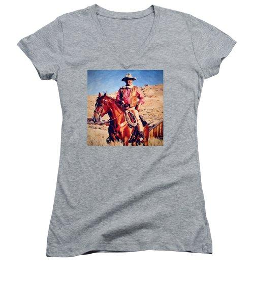 Cowboy John Wayne Women's V-Neck (Athletic Fit)