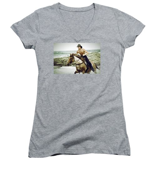 Cowboy Riding Horse On The Beach Women's V-Neck