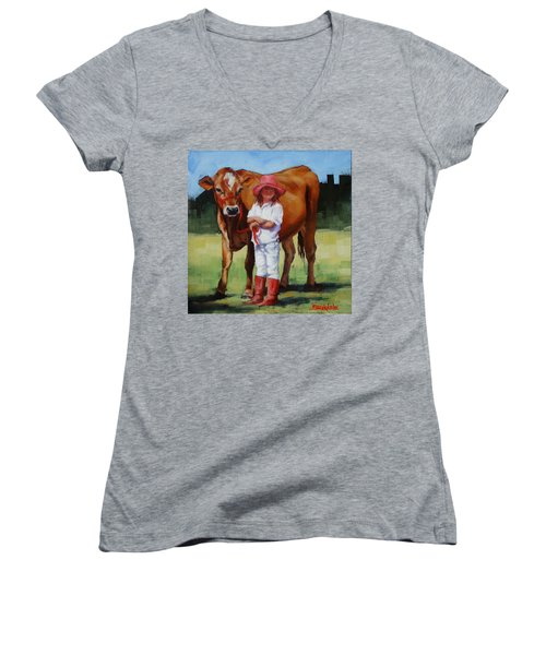 Women's V-Neck T-Shirt (Junior Cut) featuring the painting Cowgirl Besties by Margaret Stockdale