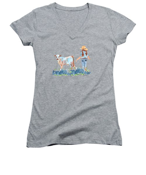 Cowgirl Calf In The Bluebonnets Pe005 Women's V-Neck (Athletic Fit)