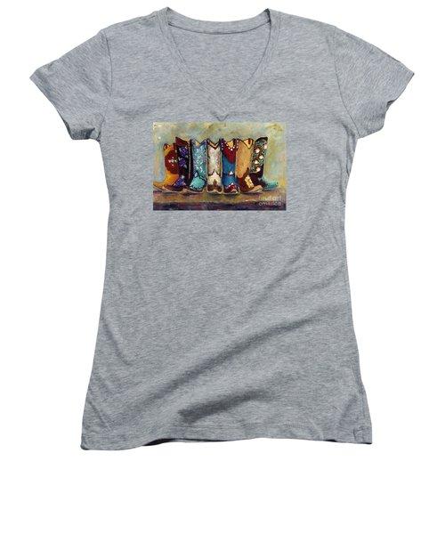 Cowgirls Kickin The Blues Women's V-Neck T-Shirt