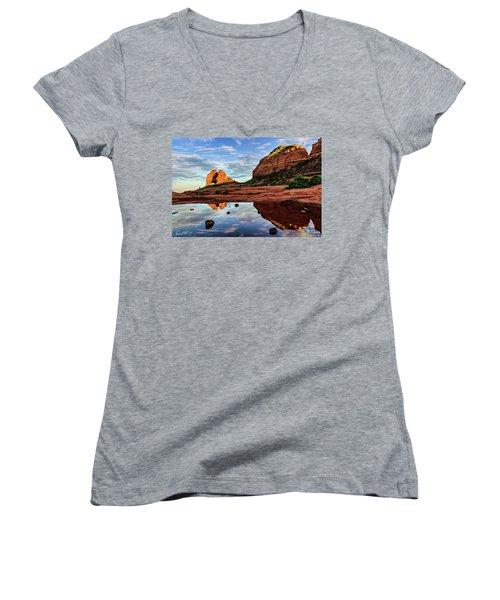 Cowpie 07-081 Women's V-Neck T-Shirt (Junior Cut) by Scott McAllister
