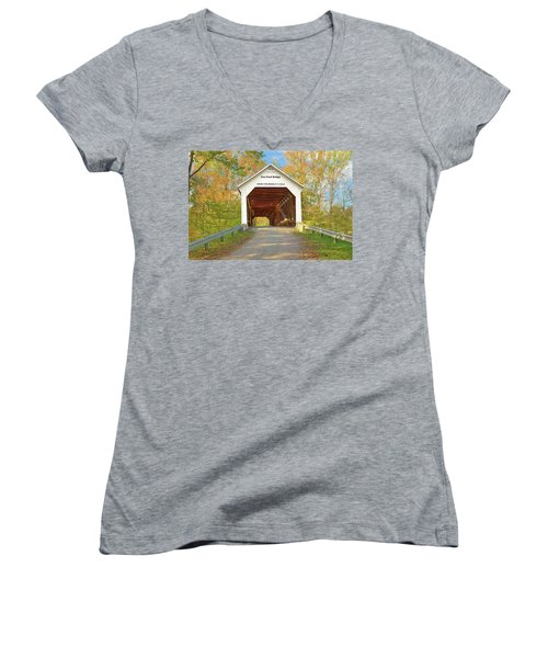 Women's V-Neck T-Shirt (Junior Cut) featuring the photograph Cox Ford Covered Bridge by Harold Rau