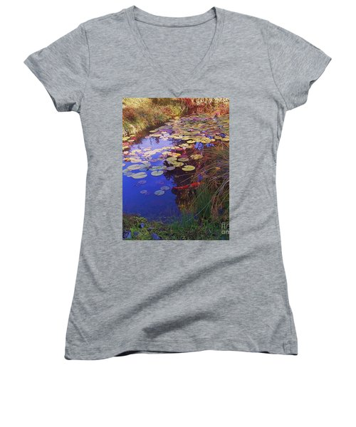Women's V-Neck T-Shirt (Junior Cut) featuring the photograph Coy Koi by Suzanne McKay