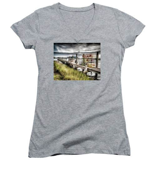 Crabber's Dock, Surf City, North Carolina Women's V-Neck T-Shirt (Junior Cut) by John Pagliuca