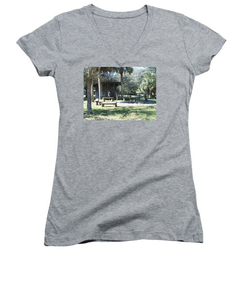 Cracker Cow Hunter Shack Women's V-Neck T-Shirt (Junior Cut) by Kay Gilley