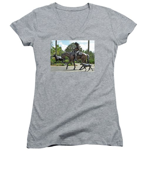 Cracker Cowboy And His Dog Women's V-Neck