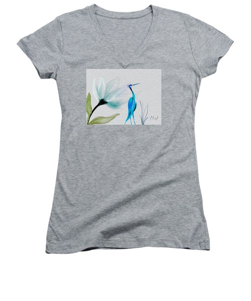 Crane And Flower Abstract Women's V-Neck T-Shirt (Junior Cut) by Frank Bright