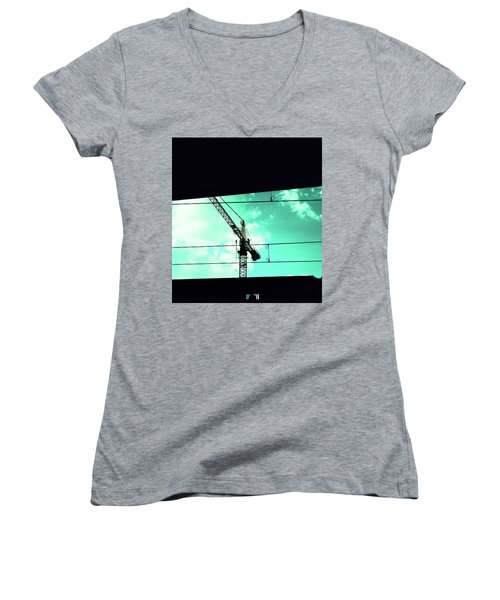 Crane And Shadows Women's V-Neck (Athletic Fit)