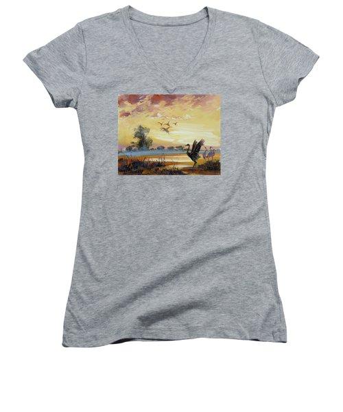 Cranes - Evening Flight Women's V-Neck T-Shirt (Junior Cut)