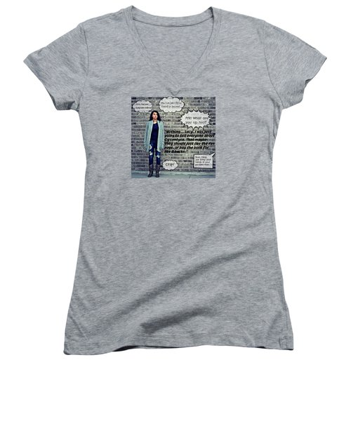 Women's V-Neck T-Shirt (Junior Cut) featuring the photograph Crap by Cyryn Fyrcyd
