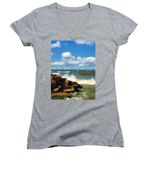 Crashing Into Shore Women's V-Neck T-Shirt