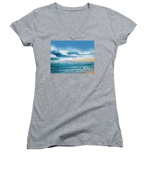 Women's V-Neck T-Shirt (Junior Cut) featuring the digital art Crashing Waves by Anthony Fishburne