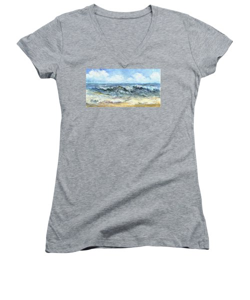 Crashing Waves In Florida  Women's V-Neck (Athletic Fit)