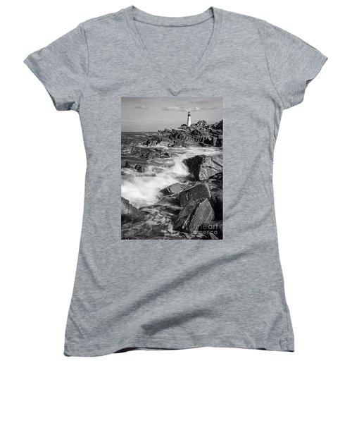Women's V-Neck T-Shirt (Junior Cut) featuring the photograph Crashing Waves, Portland Head Light, Cape Elizabeth, Maine  -5605 by John Bald