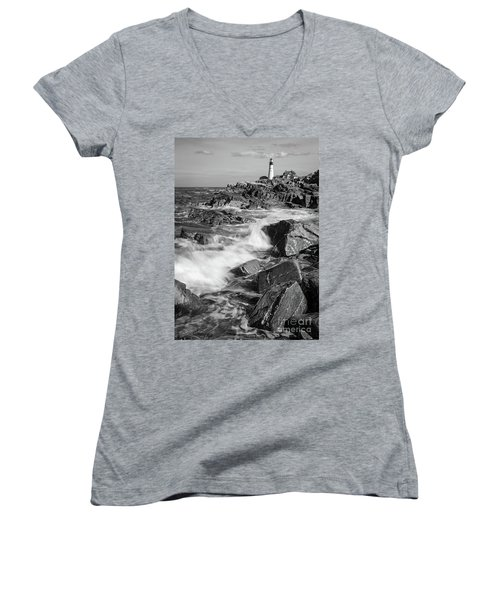 Crashing Waves, Portland Head Light, Cape Elizabeth, Maine  -5605 Women's V-Neck