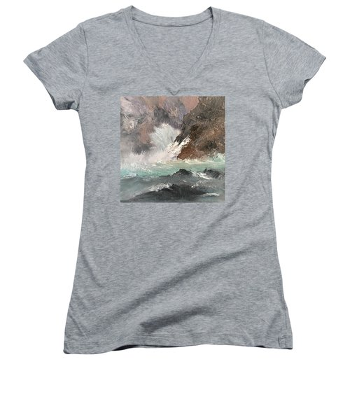 Crashing Waves Seascape Art Women's V-Neck T-Shirt (Junior Cut) by Michele Carter