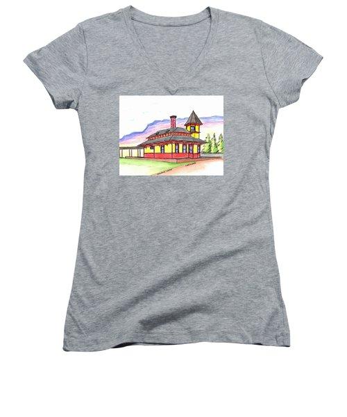 Crawford Notch Train Station Women's V-Neck T-Shirt (Junior Cut) by Paul Meinerth