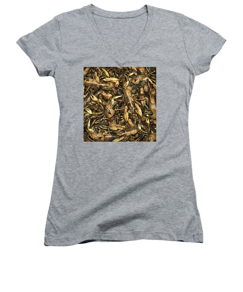 Crayfish Women's V-Neck T-Shirt (Junior Cut) by James Larkin
