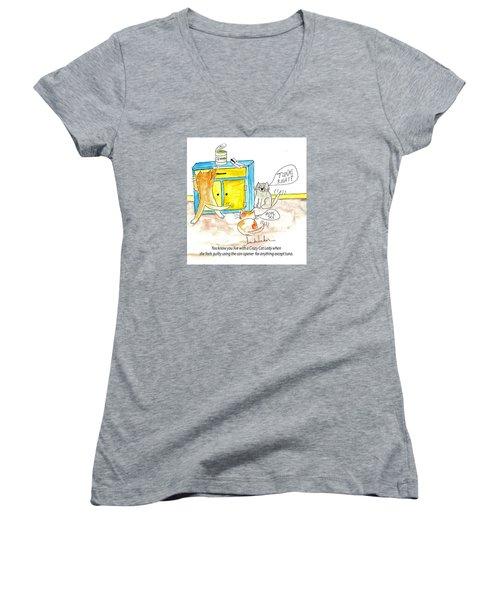 Crazy Cat Lade 0008 Women's V-Neck T-Shirt (Junior Cut) by Lou Belcher