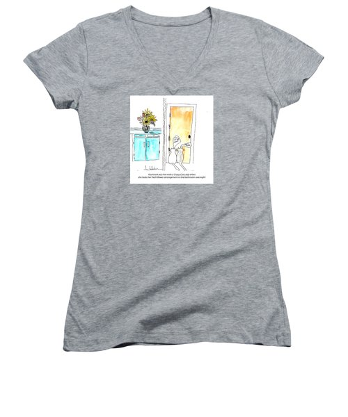 Crazy Cat Lady 0002 Women's V-Neck T-Shirt (Junior Cut) by Lou Belcher