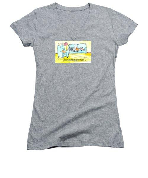 Crazy Cat Lady 0004 Women's V-Neck T-Shirt (Junior Cut) by Lou Belcher