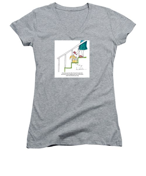 Crazy Cat Lady 0006 Women's V-Neck T-Shirt (Junior Cut) by Lou Belcher