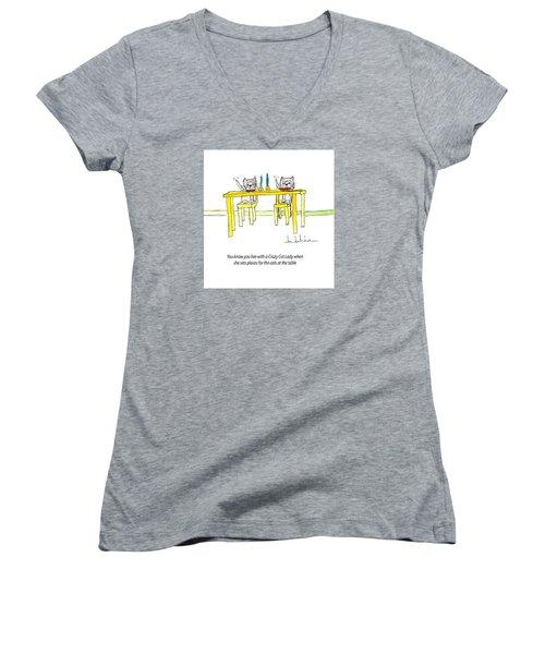 Crazy Cat Lady 0007 Women's V-Neck T-Shirt (Junior Cut) by Lou Belcher