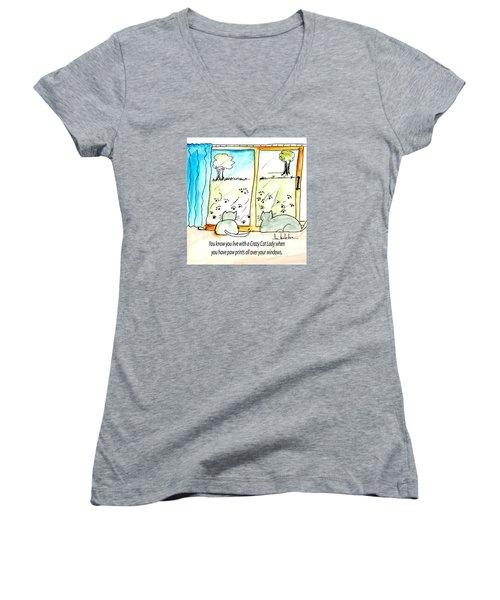 Crazy Cat Lady 0010 Women's V-Neck T-Shirt (Junior Cut) by Lou Belcher