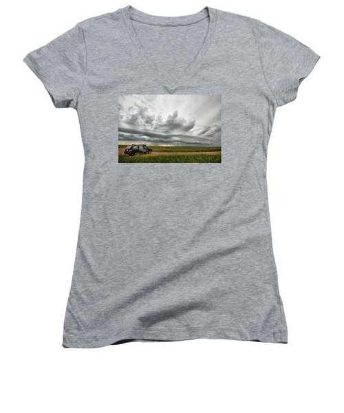 Women's V-Neck T-Shirt (Junior Cut) featuring the photograph Crazy Shelf Cloud Near Ponteix Sk. by Ryan Crouse