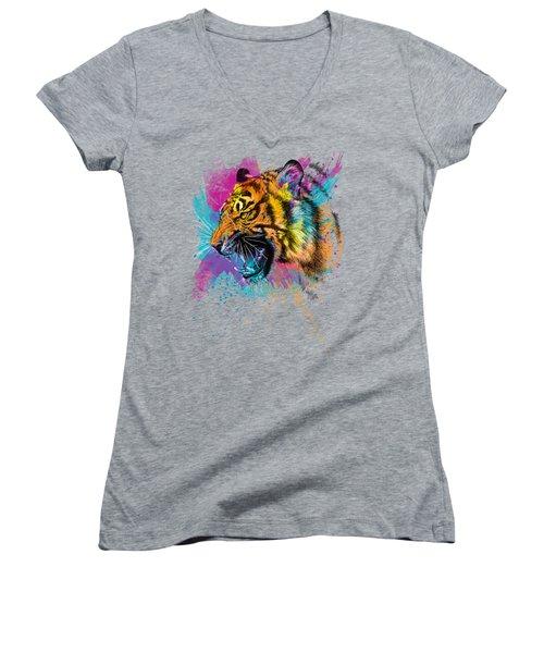 Crazy Tiger Women's V-Neck T-Shirt (Junior Cut) by Olga Shvartsur