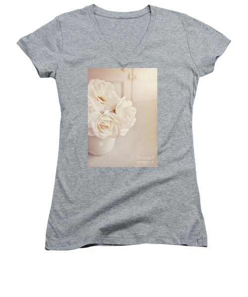 Women's V-Neck T-Shirt (Junior Cut) featuring the photograph Cream Roses In Vase by Lyn Randle