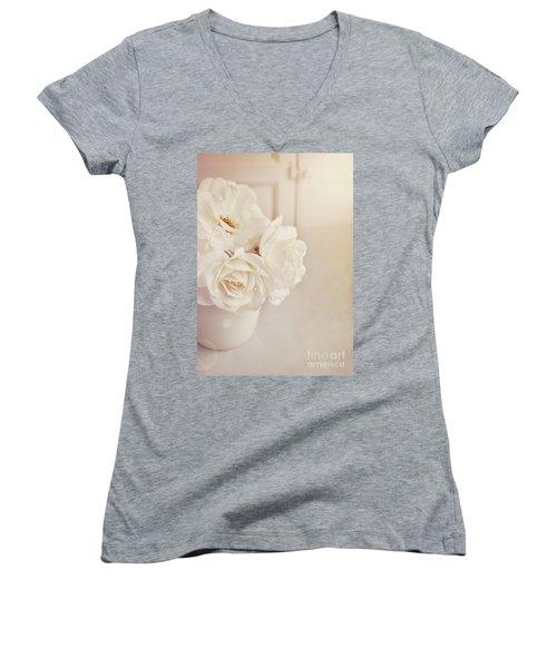 Cream Roses In Vase Women's V-Neck (Athletic Fit)