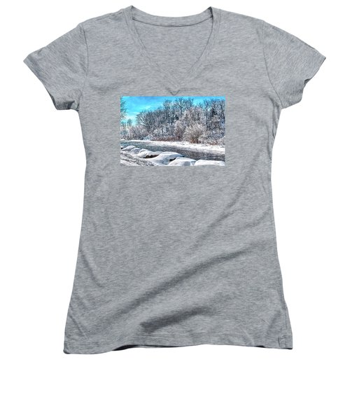 Women's V-Neck T-Shirt (Junior Cut) featuring the digital art Credit River At Winter by Kai Saarto
