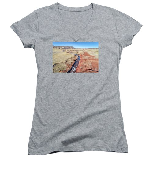 creek at  Colorado foothills - aerial view Women's V-Neck
