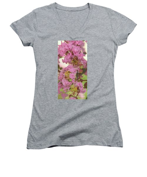 Crepe Myrtle And Bee Women's V-Neck T-Shirt (Junior Cut) by Olga Hamilton