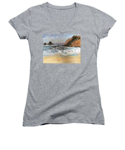 Women's V-Neck T-Shirt (Junior Cut) featuring the painting Crescent Beach At Laguna  by MaryAnne Ardito