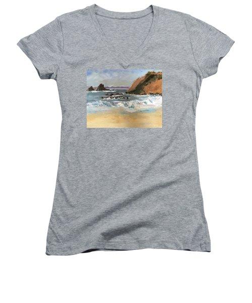 Crescent Beach At Laguna  Women's V-Neck T-Shirt