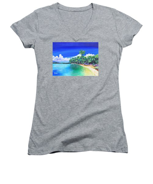 Crescent Beach Women's V-Neck T-Shirt (Junior Cut) by Patricia Piffath